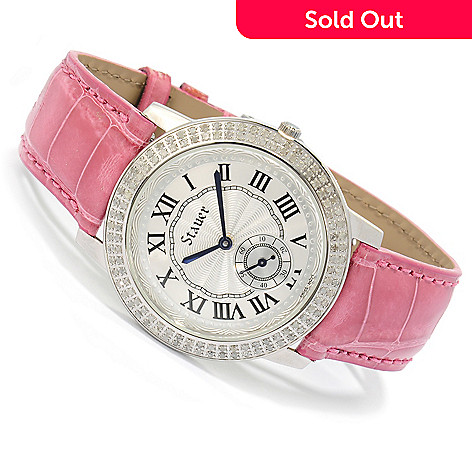 622-466 - Stauer Women's Chantal Quartz Diamond Accented Alligator Strap Watch
