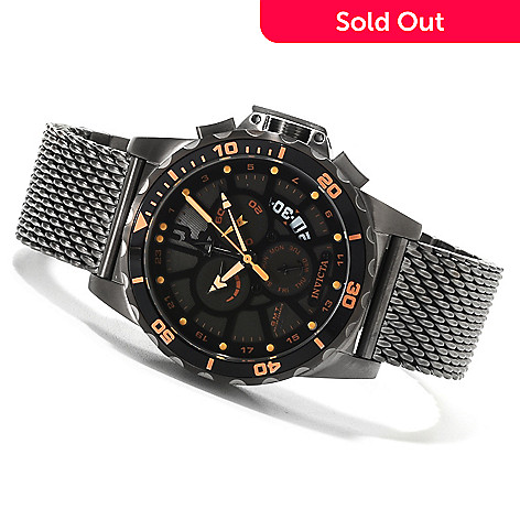 622-504 - Invicta 44mm Corduba Quartz GMT Alarm Mesh Bracelet Watch
