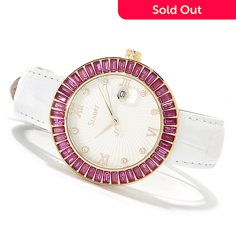 622-518 - Stauer Women's Scarlett Quartz Stainless Steel Leather Strap Watch