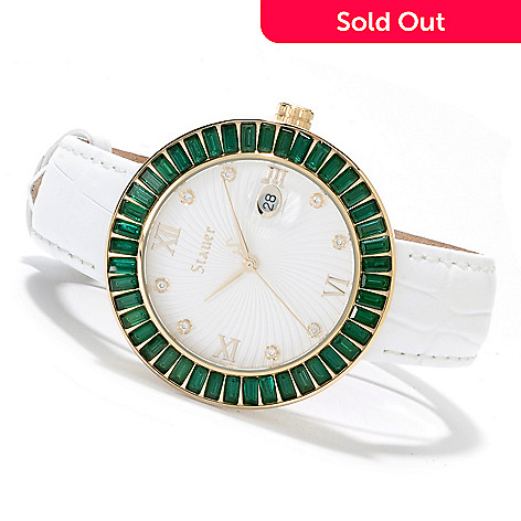 622-519 - Stauer Women's Scienza Emerald Quartz Stainless Steel Leather Strap Watch