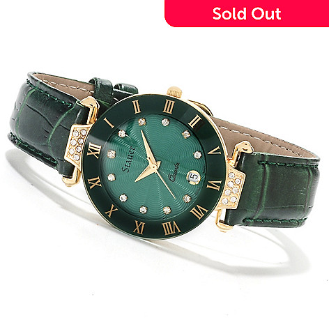 622-520 - Stauer Women's Emerald Swiss Made Quartz Watch Made w/ Swarovski™ Elements