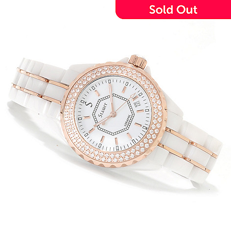 622-521 - Stauer Women's Simulated Diamond Quartz Ceramic Bracelet Watch
