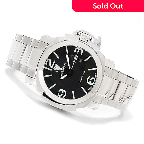 622-524 - Imperious Men's ''Man of War'' Swiss Made Automatic Stainless Steel Bracelet Watch