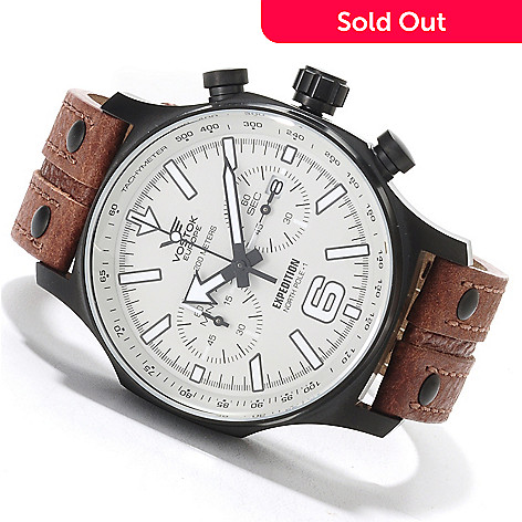 622-536 - Vostok-Europe Men's Limited Edition Expedition North Pole-1 Quartz Chronograph Leather Strap Watch