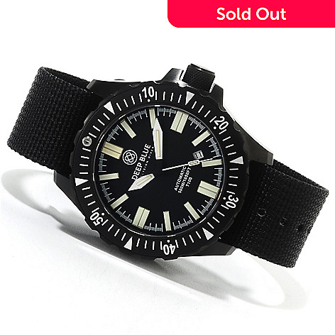 622-566 - Deep Blue Men's T-100 Tritium Military Diver Automatic Strap Watch