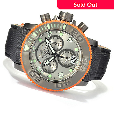 622-625 - Invicta Men's Sea Hunter Swiss Made Quartz Chronograph Leather Strap Watch w/ Eight-Slot Dive Case