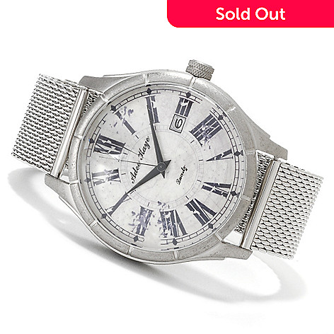 622-660 - Adee Kaye 50mm Retro Quartz Stainless Steel Mesh Bracelet Watch