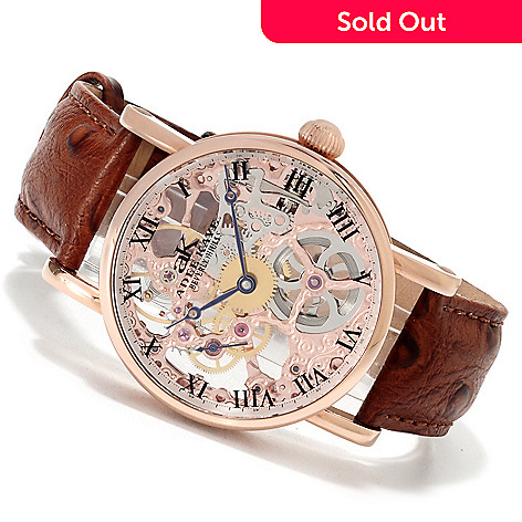 622-668 - Adee Kaye Men's Artistic Mechanical Skeletonized Stainless Steel Strap Watch