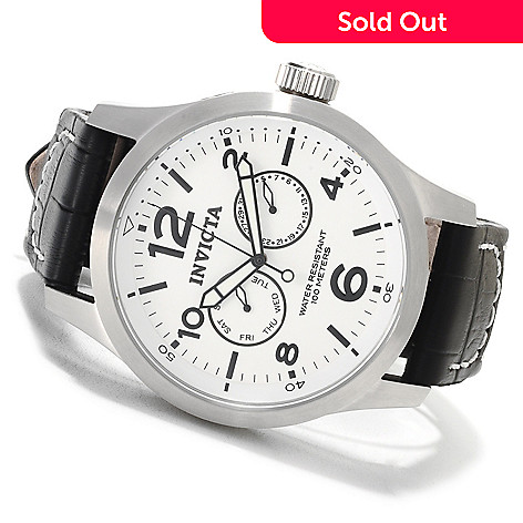 622-687 - Invicta Men's Specialty Quartz Stainless Steel Leather Strap Watch w/Three-Slot Dive Case