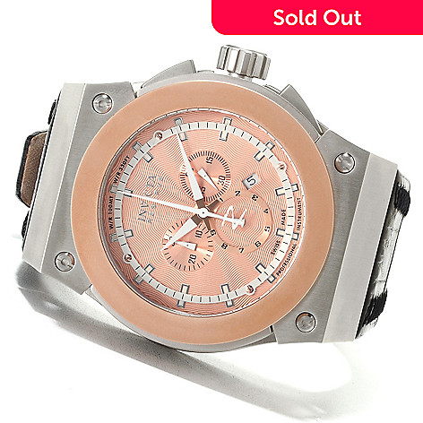622-698 - Invicta Reserve Men's Akula Swiss Made Quartz Chronograph Leather Strap Watch w/Eight-Slot Dive Case