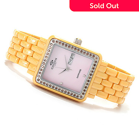 622-709 - Oniss Women's Finesse Quartz Crystal Accented Mother-of-Pearl Ceramic Watch