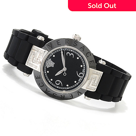 622-736 - Versace Women's Reve Swiss Made Quartz Stainless Steel Diamond Accented Rubber Strap Watch