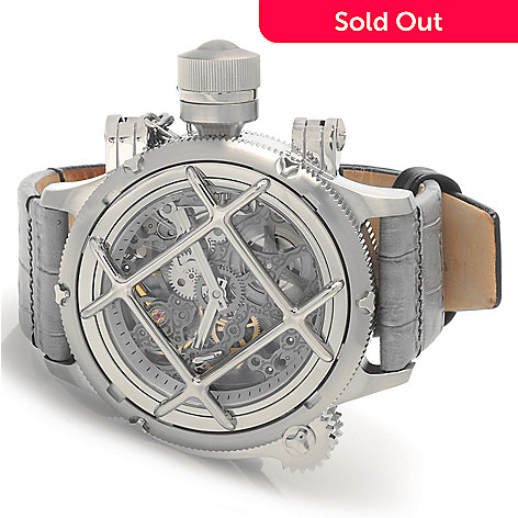 622-783 - Invicta 52mm Russian Diver Nautilus Swiss Mechanical Leather Strap Watch
