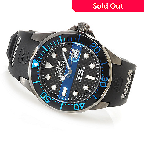 622-813 - Invicta Men's Grand Diver Quartz Carbon Fiber Dial Polyurethane Strap Watch w/ Three-Slot Dive Case