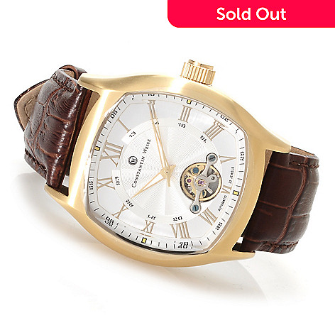 622-834 - Constantin Weisz Men's Automatic Open Heart Leather Strap Watch