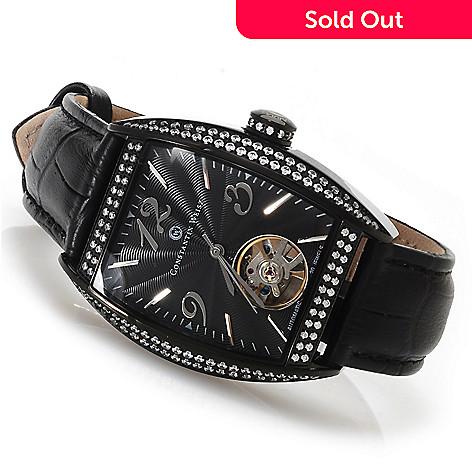 622-836 - Constantin Weisz Women's Automatic Open Heart Leather Strap Watch