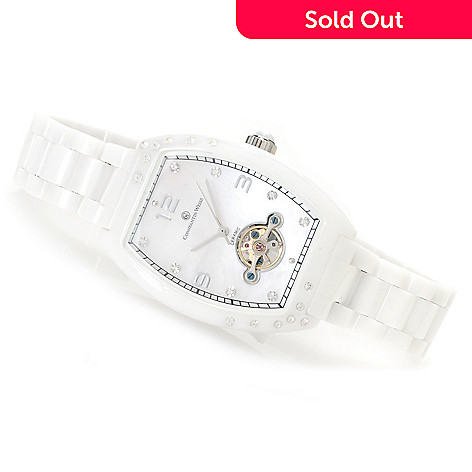 622-838 - Constantin Weisz Women's Mechanical Crystal Accented Ceramic Bracelet Watch