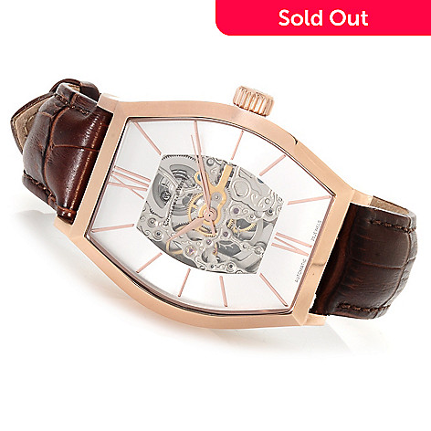 622-842 - Constantin Weisz Men's Automatic Skeletonized Leather Strap Watch