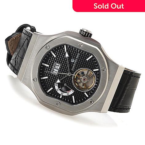 622-843 - Constantin Weisz Men's Automatic Open Heart Leather Strap Watch