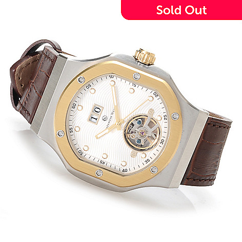 622-844 - Constantin Weisz Men's Automatic Open Heart Leather Strap Watch