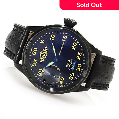 622-898 - Moscow Classic Men's Sturmovik Limited Edition Russian Mechanical Leather Strap Watch