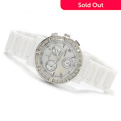 622-925 - Invicta Ceramics Women's Quartz Mother-of-Pearl Bracelet Watch w/ Travel Box