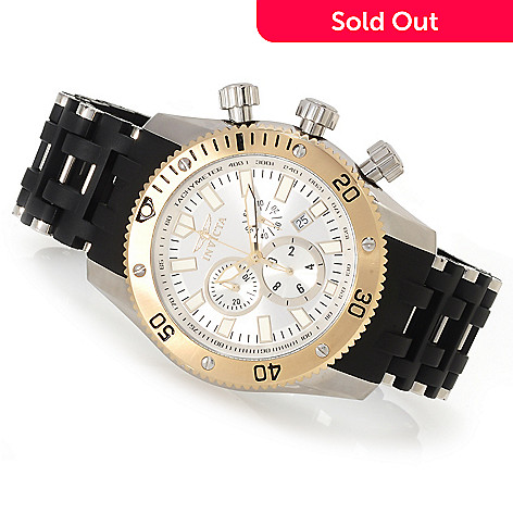 622-927 - Invicta Men's Sea Spider Quartz Chronograph Polyurethane Bracelet Watch w/Three-Slot Dive Case