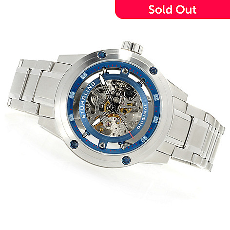 622-935 - Stührling Original Men's Zeppelin Automatic Skeleton Stainless Steel Bracelet Watch