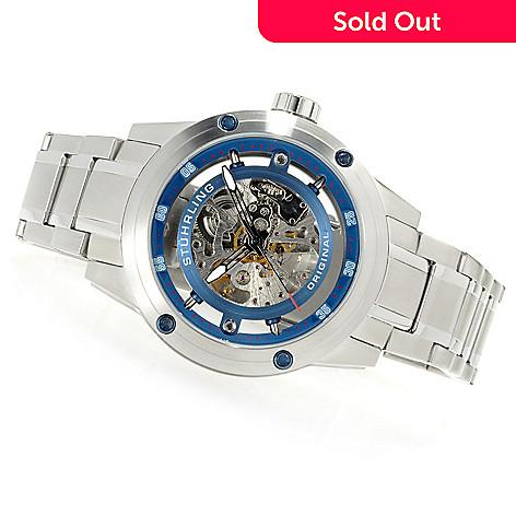 622-935 - Stührling Original Men's Zeppelin Automatic Skeleton Stainless Steel Bracelet Watch