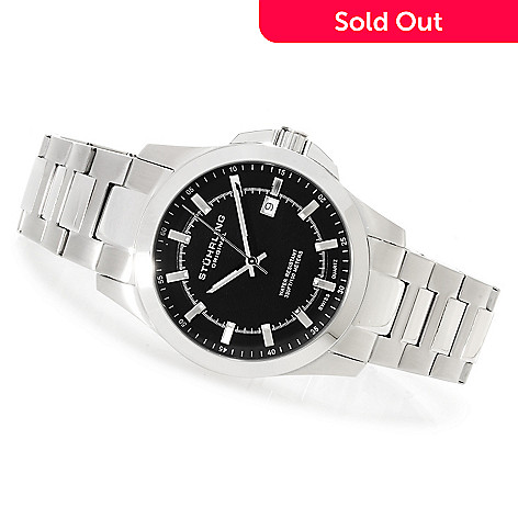 622-941 - Stührling Original Men's Cuvette Classic Quartz Stainless Steel Bracelet Watch