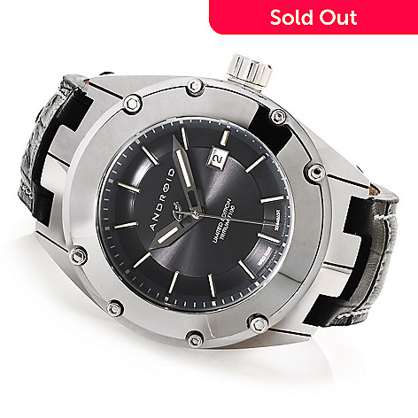 622-957 - Android Men's Virtuoso T100 Limited Edition Swiss Automatic Tungsten Leather Strap Watch