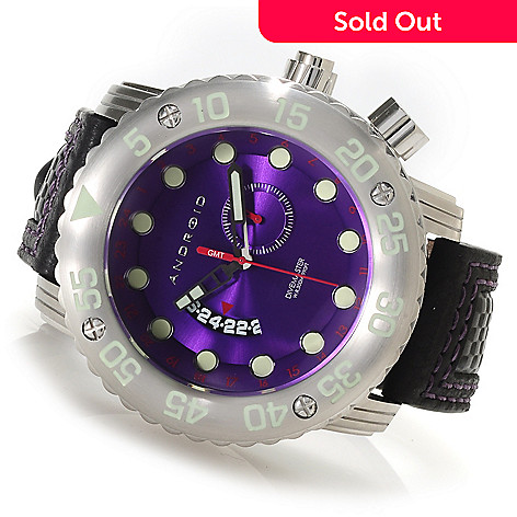 622-958 - Android Men's DM Gauge Quartz GMT Leather Strap Watch