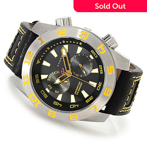 622-964 - Android Men's Octoploid Quartz Stainless Steel Leather Strap Watch