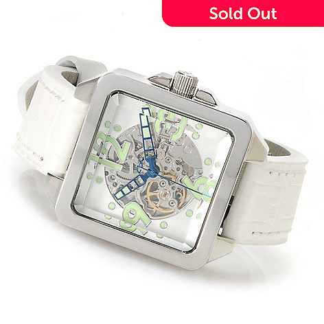 622-971 - Android Men's Galactopus 40 Automatic Skeleton Leather Strap Watch