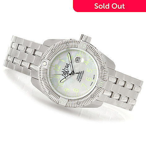 622-973 - Zavtra Men's T-37 Sea to Land Automatic Mother-of-Pearl Stainless Steel Bracelet Watch