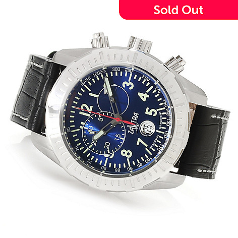 622-978 - Zavtra 48mm T-37 Air to Ground Quartz Chronograph Leather Strap Watch