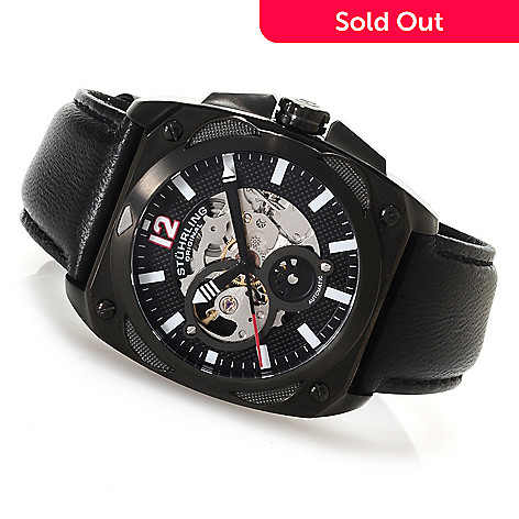 623-018 - Stührling Original Men's Automatic Skeletonized Leather Strap Watch