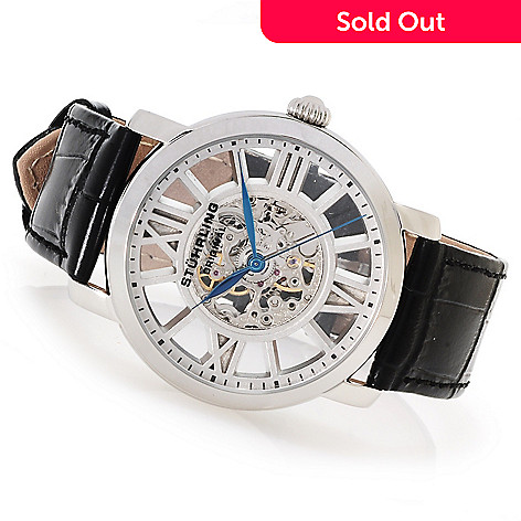 623-023 - Stührling Original Men's Winchester Mechanical Leather Strap Watch w/ Three-Slot Case