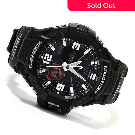 623-027 - Casio 47mm G-Shock Aviation Quartz Chronograph Analog Digital Rubber Strap Watch