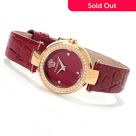 623-039 - Versace Women's Mystique Swiss Made Quartz Leather Strap Watch