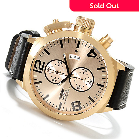623-058 - Invicta Men's Corduba Quartz Chronograph Stainless Steel Leather Strap Watch