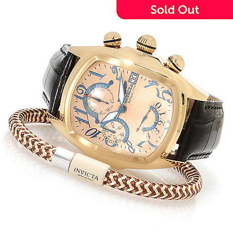 623-115 - Invicta Men's Dragon Lupah Valjoux 7750 Alligator Strap Watch w/Copper Bracelet & 3-Slot Dive Case