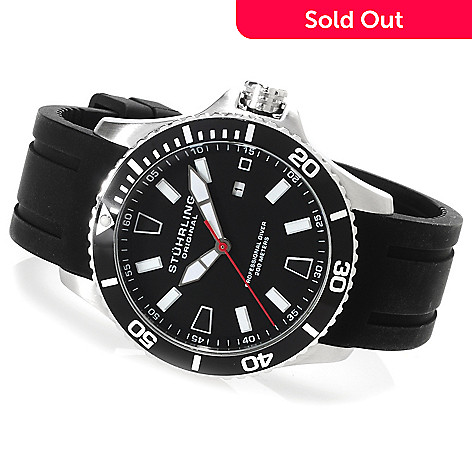 623-116 - Stührling Original Men's Regatta Quartz Stainless Steel Rubber Strap Watch