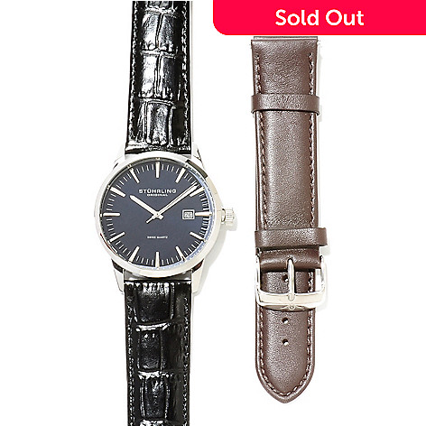 623-117 - Stührling Original Men's Ascot Quartz Leather Strap Watch w/ Extra Strap
