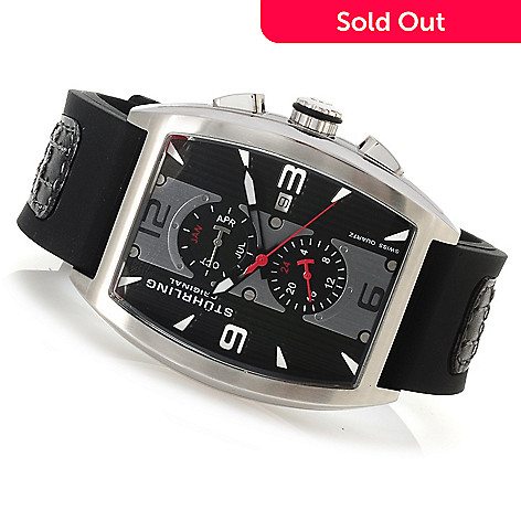 623-121 - Stührling Original Men's Millennia Quartz Stainless Steel Rubber Strap Watch