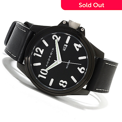 623-161 - Android Men's Decoy Quartz Leather Strap Watch w/ Three-Slot Case