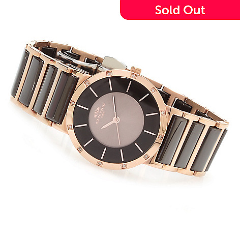623-196 - Oniss Women's Moonar Quartz Diamond Accented Stainless Steel Bracelet Watch