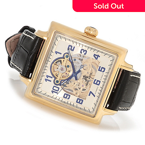 623-203 - Adee Kaye Men's Elegante Automatic Skeleton Leather Strap Watch