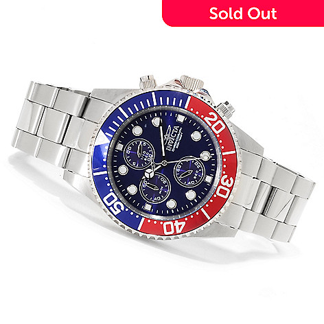 623-272 - Invicta 43mm Pro Diver Quartz Chronograph Bracelet Watch w/Three-Slot Dive Case