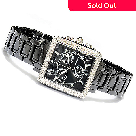 623-280 - Invicta Ceramics Women's Crystal Accent Bracelet Watch w/ Travel Box